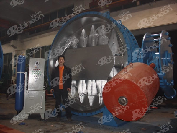 Large Size Triple Offset Flange Hydraulic Operated Butterfly Valves