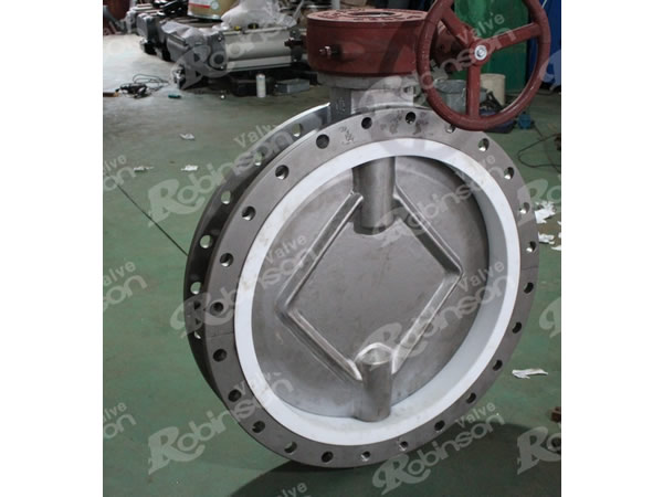 PTFE Lined  Double Flange Type Concentric Butterfly Valve